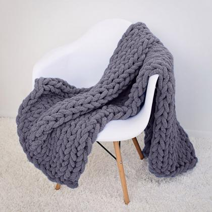 Handmade Chunky Knit Blanket Throw ..