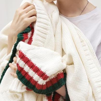 Bedding Knitting Blanket Wool Knitt..