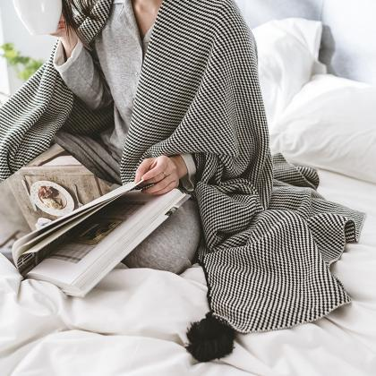 Cotton Knitted Blanket Black Stripe..