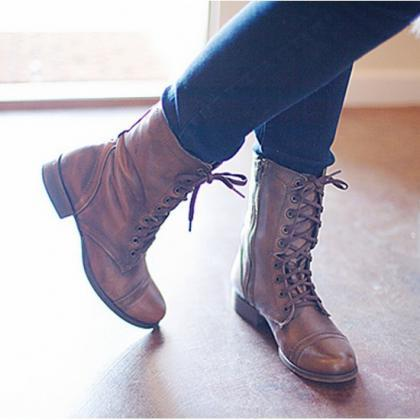 Women's short boots Lace up Mid Cal..