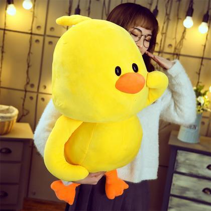 Little yellow duck plush toy pillow..
