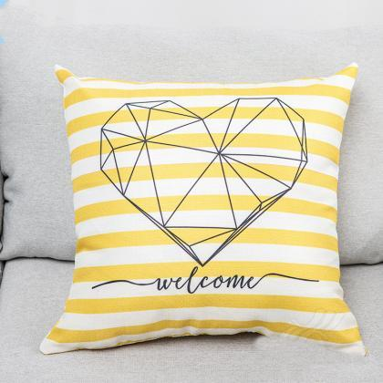 Nordic pillow ins geometric yellow ..
