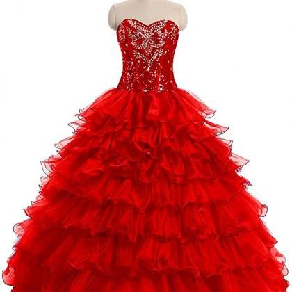 Women's Dress Crystal Organza Ball ..