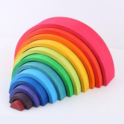 12-Piece Wooden Rainbow Stacking Bl..