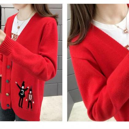 Knit Cardigan Female Student Korean..