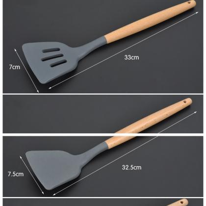 Silicone Wooden Handle Kitchen Ute..