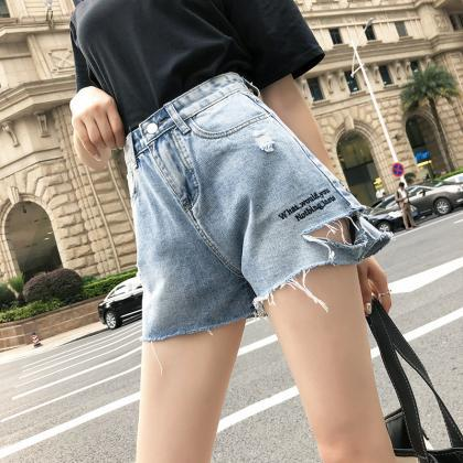 Women's Mid Rise Shorts Frayed Raw ..