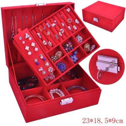 Jewelry Box for Women, Double Layer..