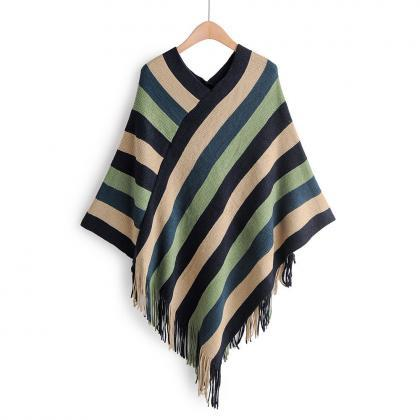 Women's V-neck Color Striped Fringe..