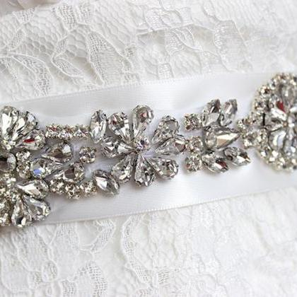 Bridal Rhinestone Wedding Belts - F..