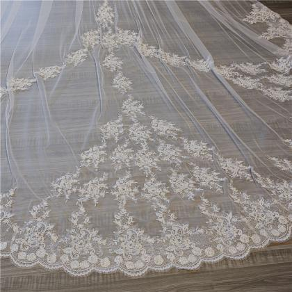 Ivory Lace Edge Cathedral Length We..