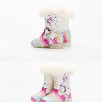Children's short boots plus velvet ..