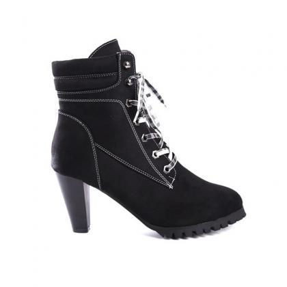 Women Autumn Round Toe Lace Up Chun..
