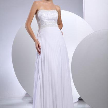 Women white chiffon wedding dress b..
