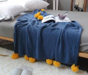 Pom Pom Knit Throw B..