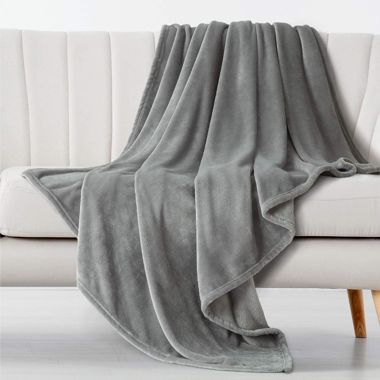 Flannel Fleece Blanket All-Season Anti-Static Throw/Blanket for Sofa Couch Bed (78'' x 90''),Gray