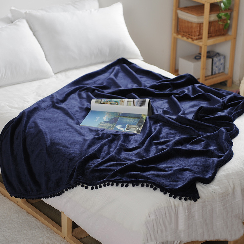 Flannel Blanket with Pompom Fringe Lightweight Cozy Bed Blanket Soft Throw Blanket (59x59) Royal blue
