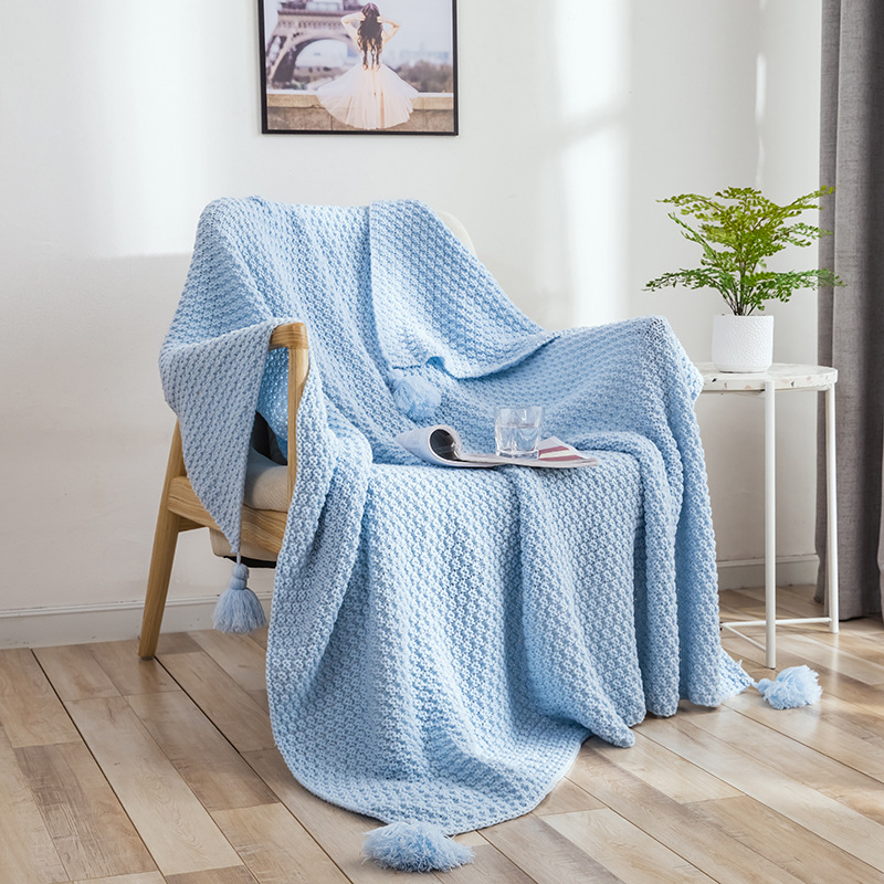 Knitted Throw Blanket(51x67inches), Cotton Fringed Cable Knit Throw Blanket for Couch,Soft
