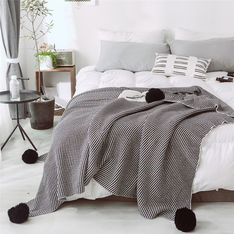 "100% Cotton Twill Knitted Throw Blanket for Sofa Bed Couch Office Super Soft Knitted Blanket (bule, 51""x63"")"