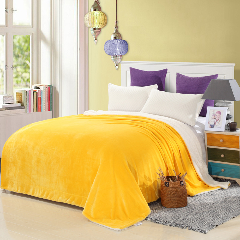 "Super Soft Sherpa Blanket Fleece Blanket Microfiber Reversible 78""x90"" Yellow Throw Blanket All Seasons Luxury Fuzzy Blanket for Bed or Couch"