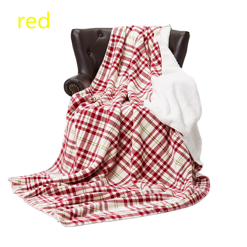 Flannel Fleece Blanket 60 × 90 Inches, All Season Plaid Red/white Blanket for Bed, Couch