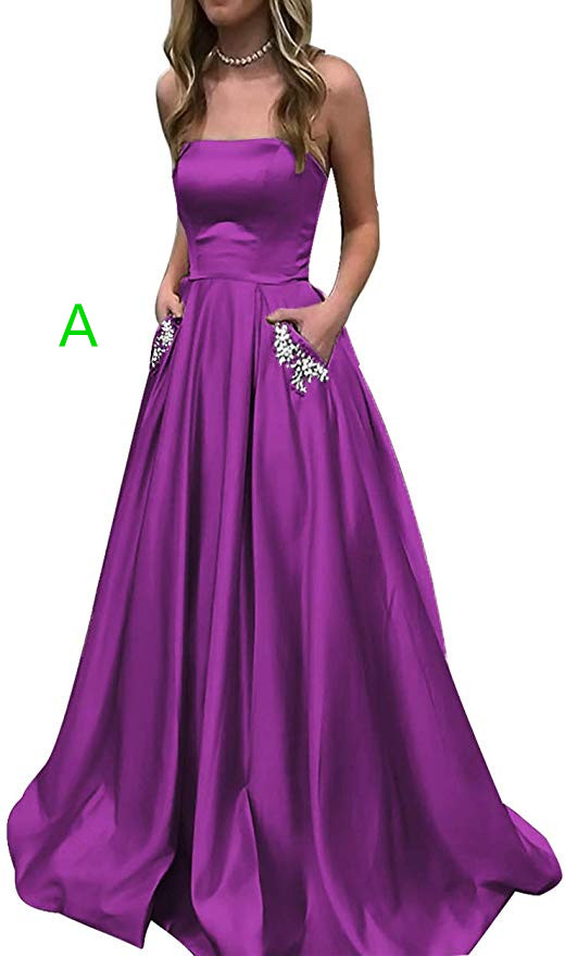 2019 Homecoming Dress Satin Strapless A-line Semi Formal Gowns with Beaded Pockets long Prom Dresses