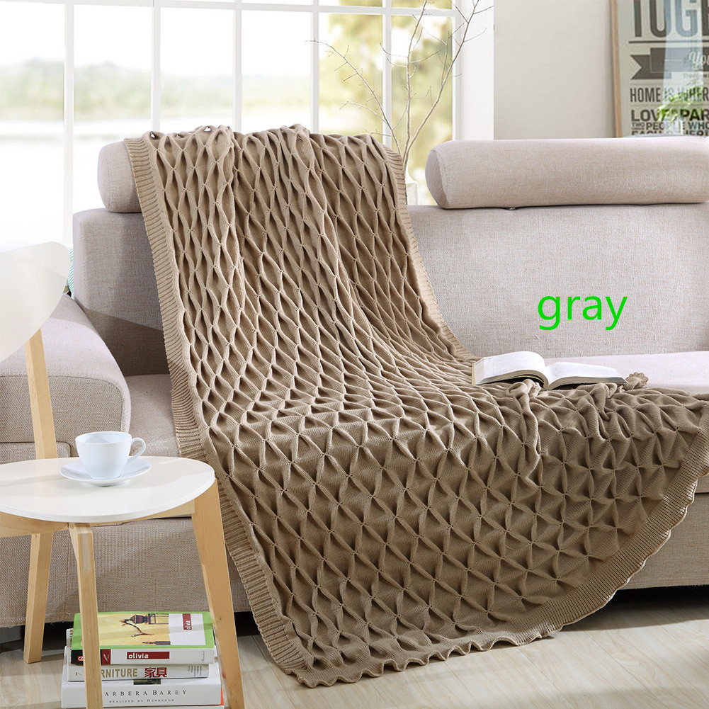 Bedding solid color knit office nap hair blanket fishing net blanket