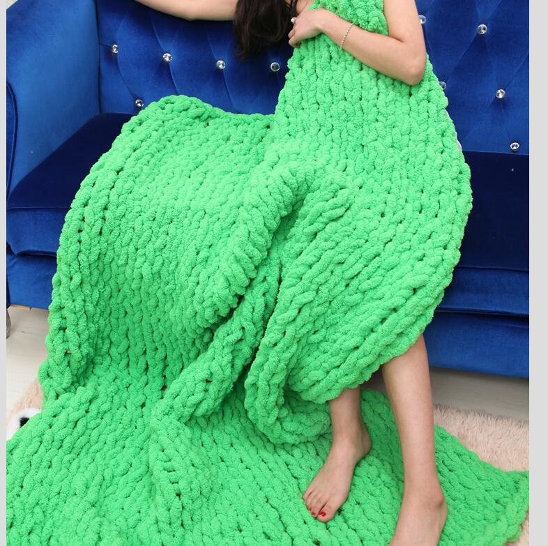 Handmade Chunky Knit Blanket Throw Bulky Knitting Blanket Chenille Blankets Soft Cozy Polyester (green, 59x78in(150X200cm)