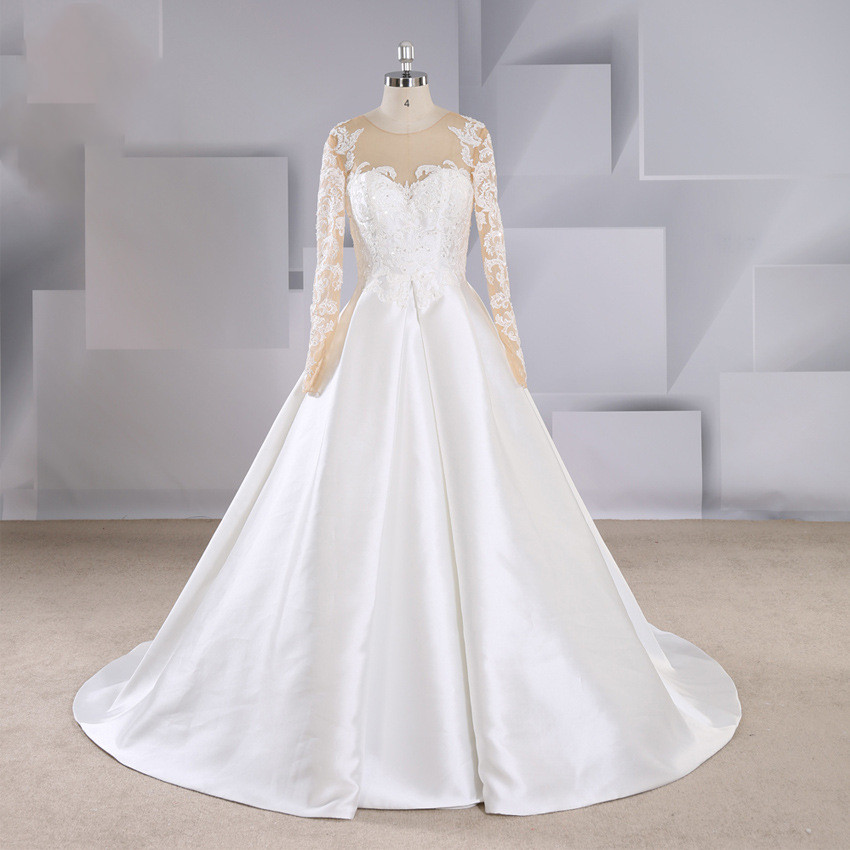 Women's Long Sleeve Sexy Perspective Backless Beaded Lace Applique Wedding Dress