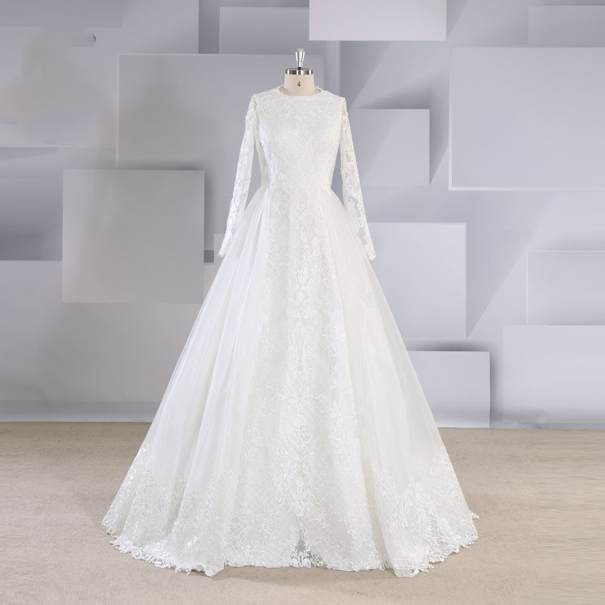 2019 autumn and winter high-end lace court princess wind detachable long-sleeved slim Qi wedding dress