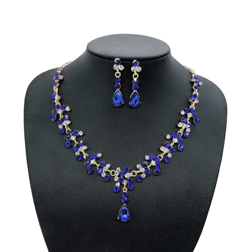 Women's Oval Austrian Crystal Prom Jewelry Gorgeous Bridal Necklace Earrings Set