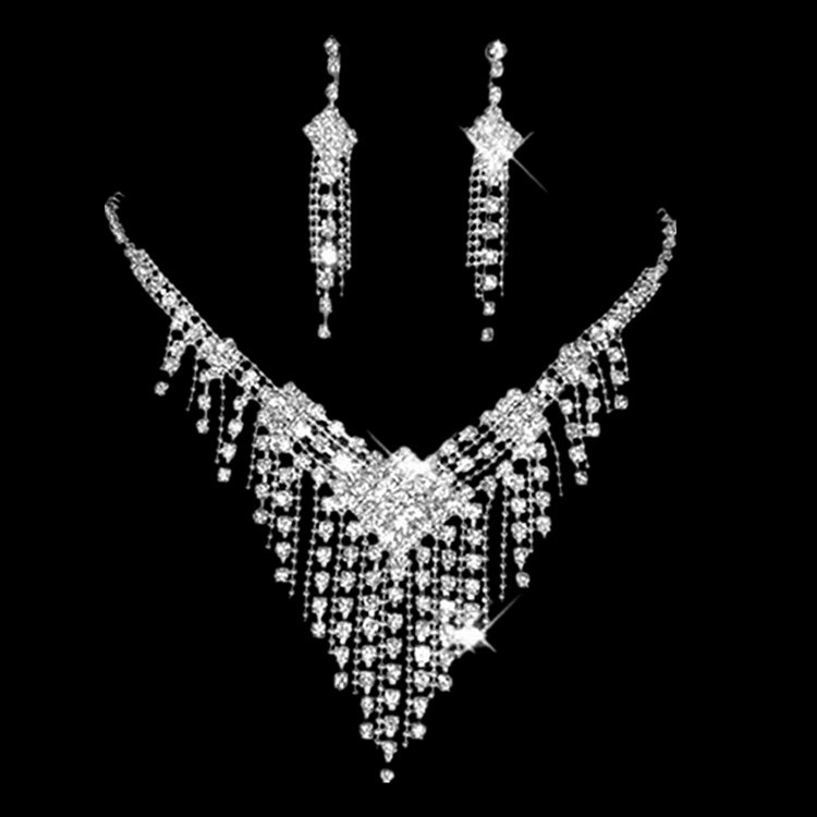 Bridal Rhinestone Claw Necklace Earrings Two Piece Set Wedding Dress Accessories Stage Banquet Silver Set Chain