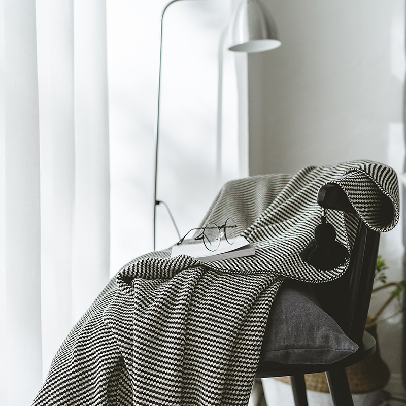 Cotton Knitted Blanket Black Striped Blanket New Knitted Blanket