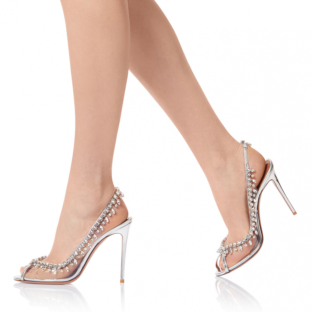 PVC Fish Mouth Heels High-heeled Shoes Large Size Women Shoes Gorgeous Chain Diamond Fashion Shoes