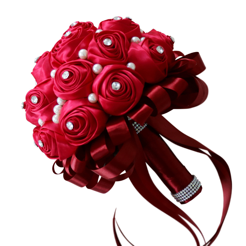 European wine red ribbon flower bud bride holding bouquet pearl diamond buckle bridal bouquet