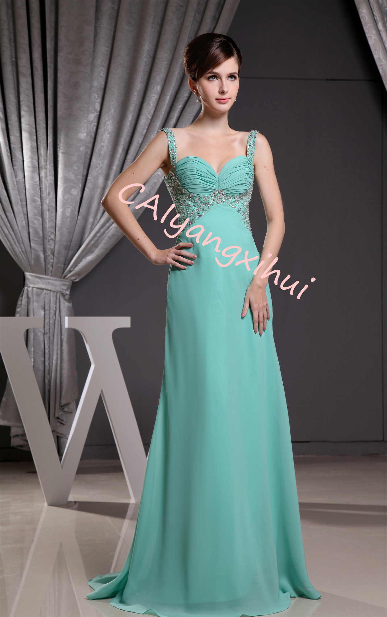 Women's Pleated Sweetheart Chiffon Party Evening Dress Bridesmaid Dress