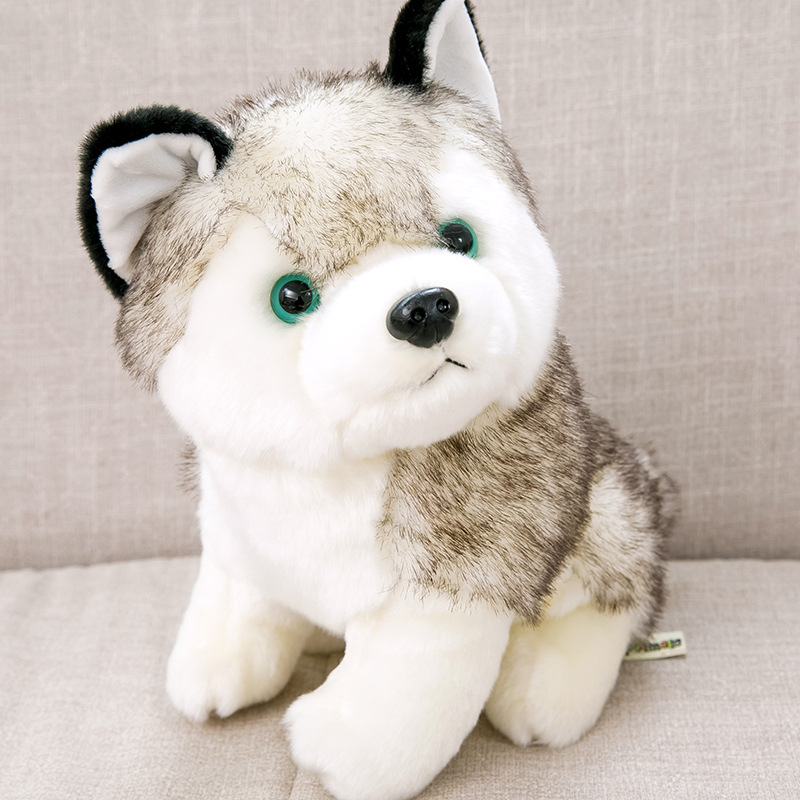 Cute dog simulation husky doll plush toy doll lying dog doll child birthday gift girl