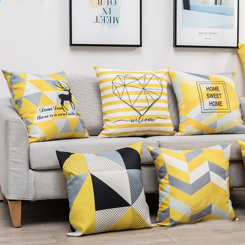 Nordic pillow ins geometric yellow and black pillow cover homeware backrest decorative pillow pillowcase