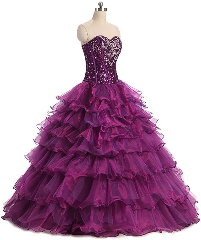 Women's Dress Crystal Organza Ball Gown Prom Dress