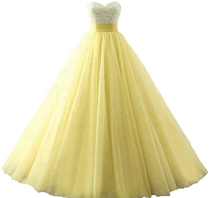 Quinceanera Dresses Tulle Beads Ball Gown Long Prom Dress