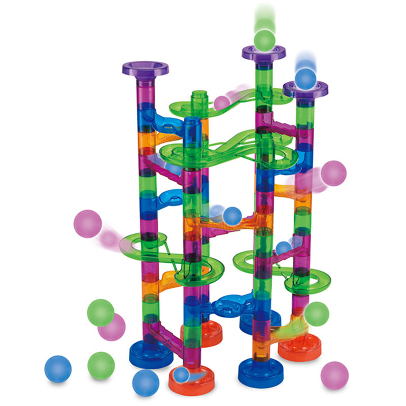 122 PCS Marble Race Balls, Construction Track Building Blocks Early Educational Plastic Funnel Slide Toy for Little Child