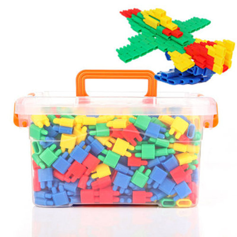 Kids Bullet-Shaped Construction Building Blocks DIY Puzzle Toys Plastic Assembly Stacking Toys 3D Early Educational Childhood Toys with Storage Box Birthday for Boys Girls 3-8 Years
