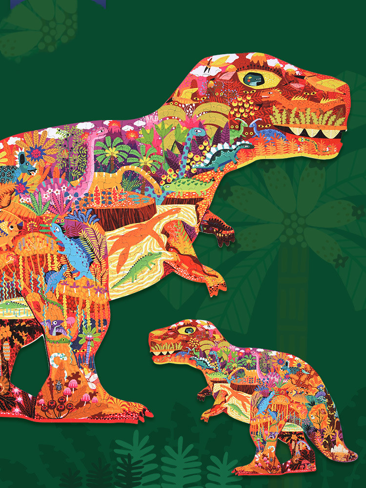 Children's puzzle baby 280 pieces of colorful world dinosaur creative puzzle DIY colorful dinosaur puzzle