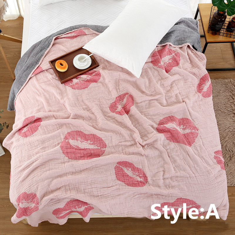 Four-Layer Cotton Gauze Towel Quilt Flame Red Lips Towel Quilt Blanket (double), Bed, Sand Sofa Blanket, Summer Bedding Bedspread (79 inches X 90 inches)