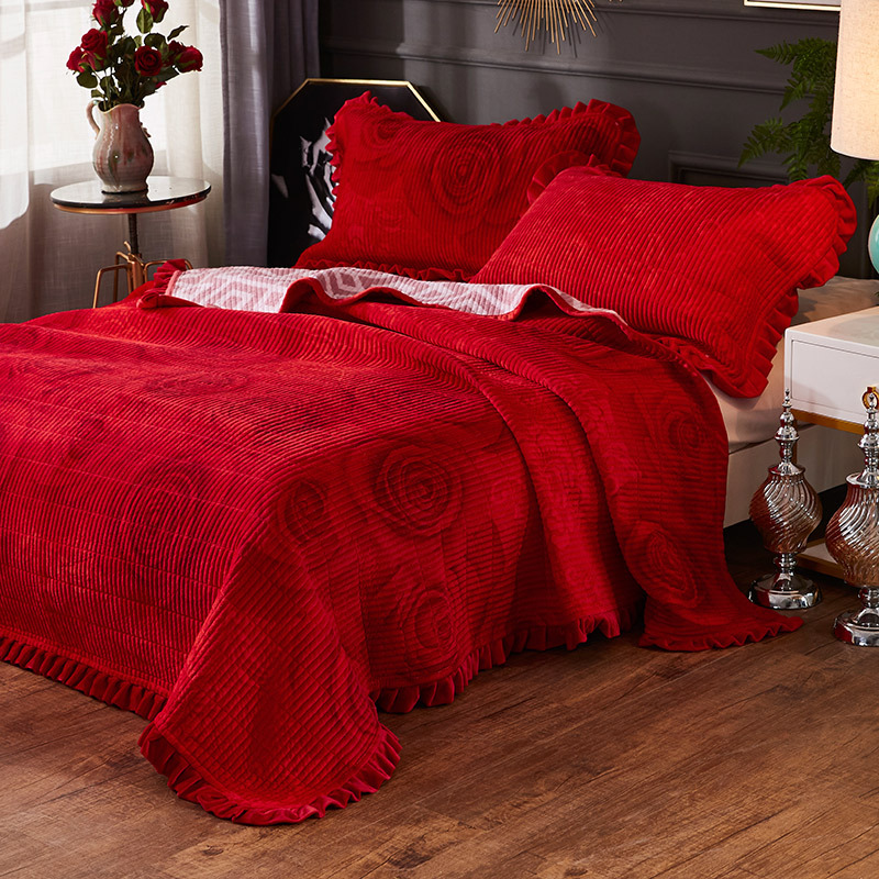 Soft Fleece Blanket,Crystal Velvet Bed Cover one Side Fleece Side Cotton Thick Quilted Sheets Coral Fleece Blanket Cover Blanket-200x230cm