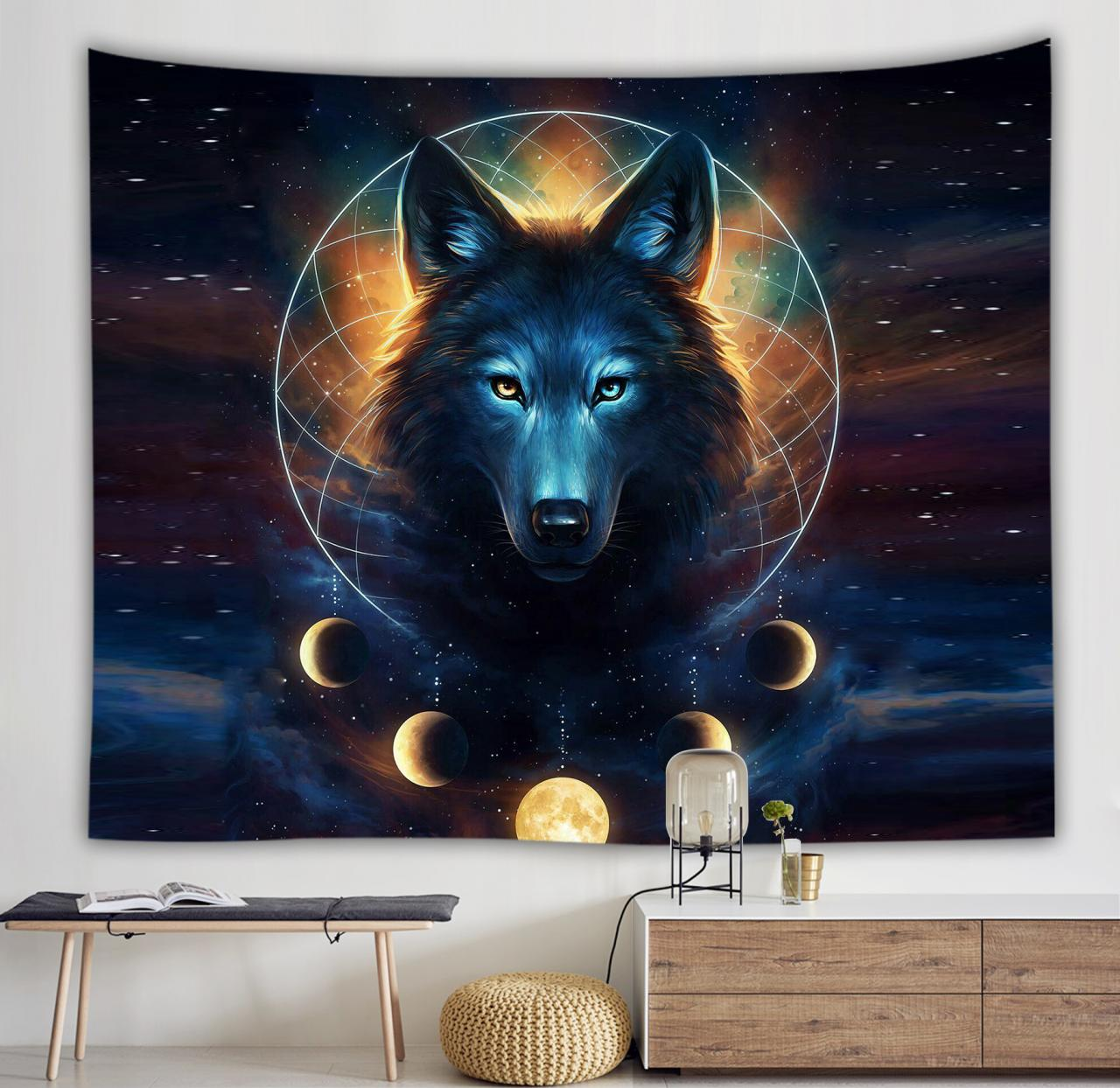 Home Decoration Tapestry Picnic Mat Animal Tapestry Digital Printing Wolf Lion Tiger Models Wall Hanging Mural