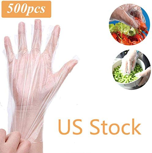500 Pcs Disposable Plastic Gloves - Latex Free Powder Free Clear Polyethylene Gloves Non-Sterile for Cleaning, Cooking, Hair Coloring, Dishwashing, Food Handling