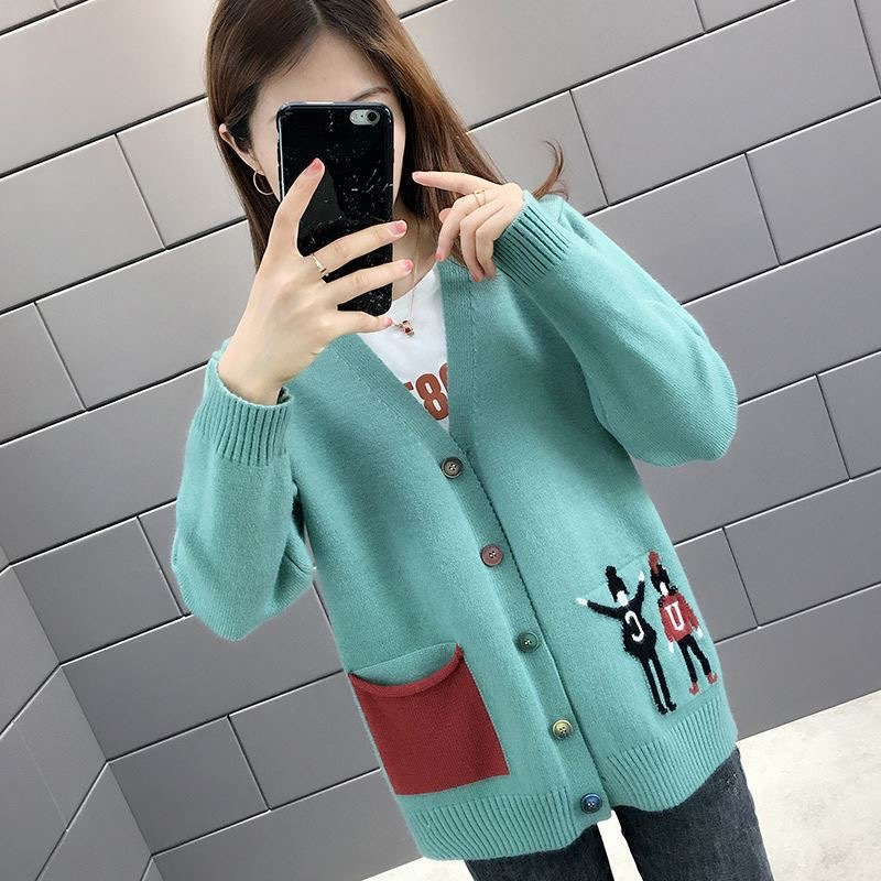 Knit Cardigan Female Student Korean Pocket Sweater Jacket Female Loose V-Neck Long Sleeve Outboard