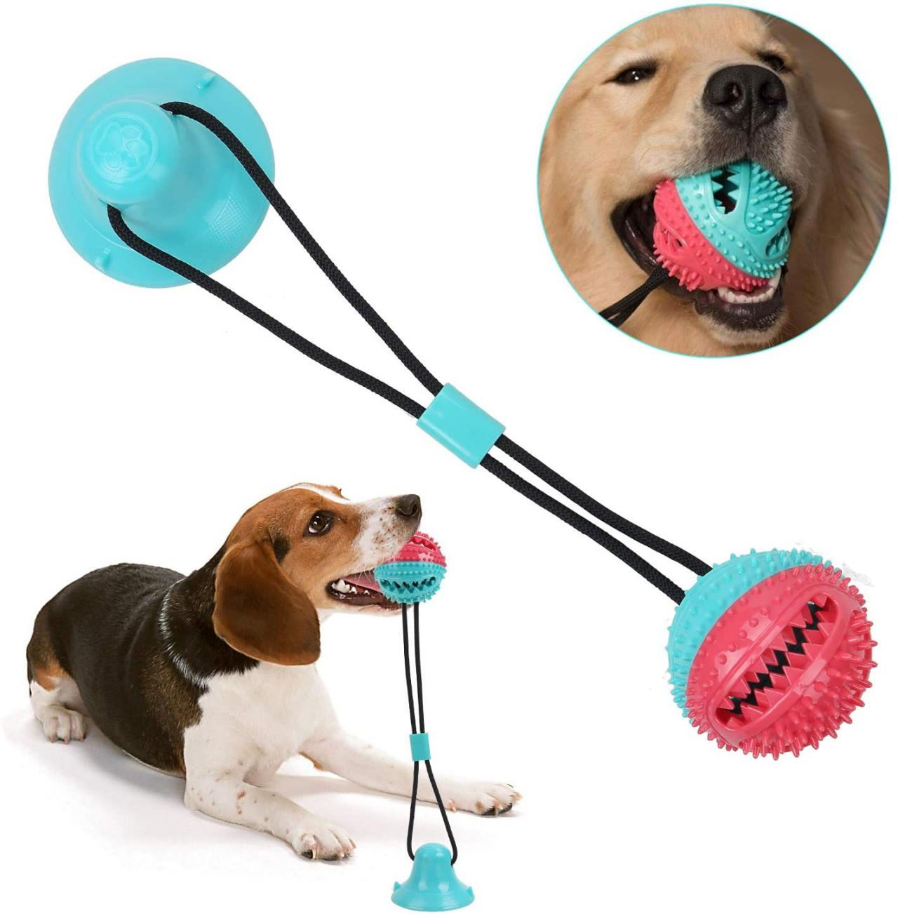 Dog Chew Toys Pet Supplies,Suction Cup Dog Toy Pet Molar Bite Toy Self-Playing Rubber Chew Ball Teeth Cleaning and Food Dispensing for Dogs Puppy Cats