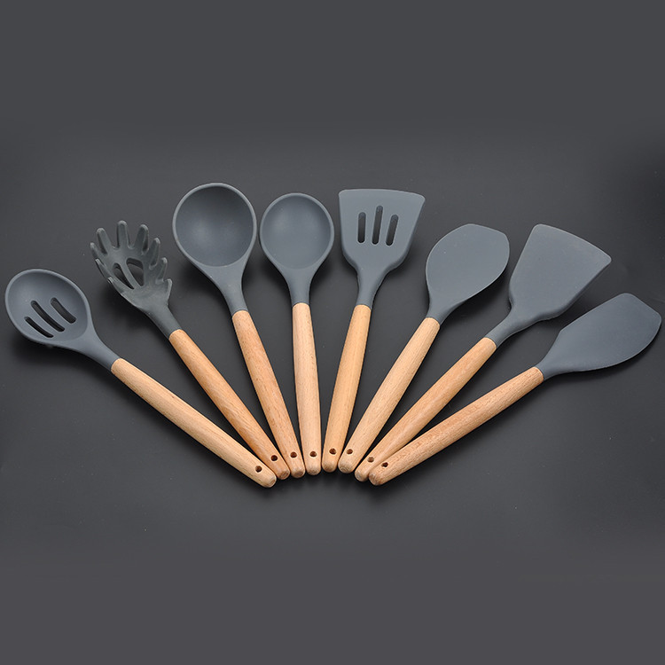 Silicone Wooden Handle Kitchen Utensils Set Of 8 non-Stick spatula Spoon Tool Set Spatula Soup Spoon Cooking Utensils